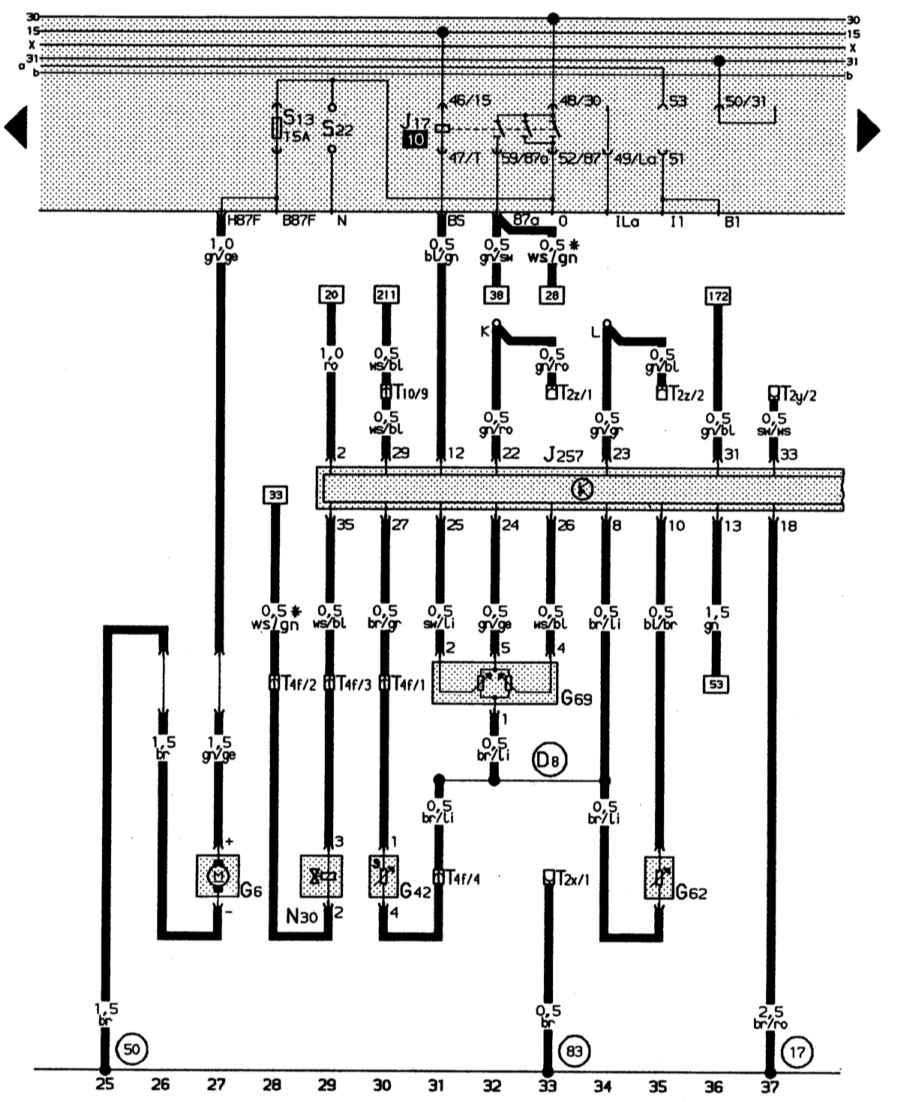 Полная электросхема автомобиля Audi 80: 2-литровый 4-цилиндровый двигатель (66 кВт) Audi 80.
