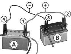 Пуск двигателя от аккумулятора другого автомобиля