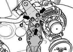 Натяжной демпфер поликлинового ремня с подвесной лапкой двигателя