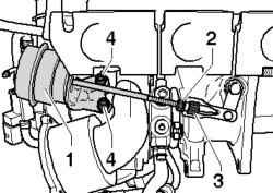 Отсоединение тяги от турбонагнетателя