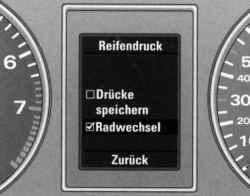 Меню «Radwechsel» (замена колеса)