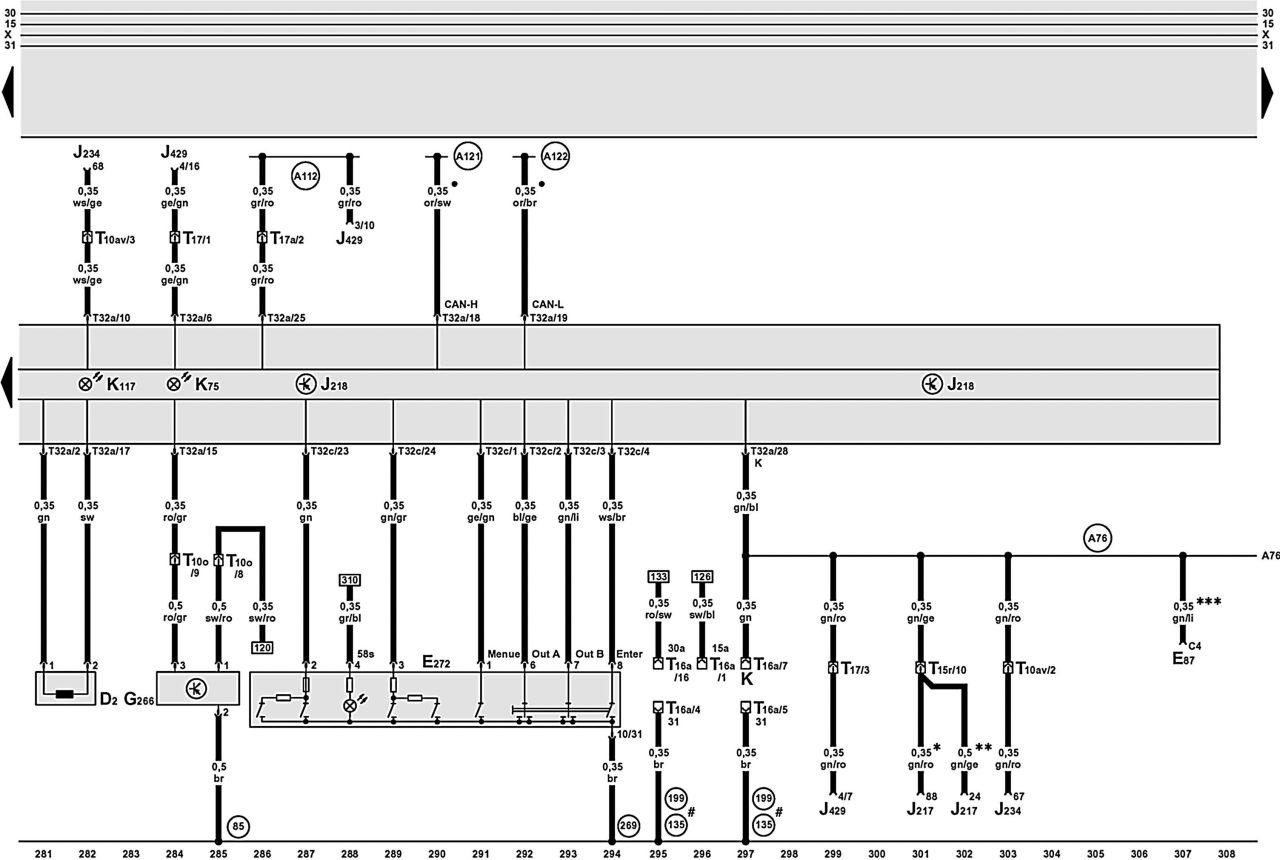 Продолжение описания электрооборудования авто AUDI A6.  Ниже приводятся схемы и обозначение элементов на...