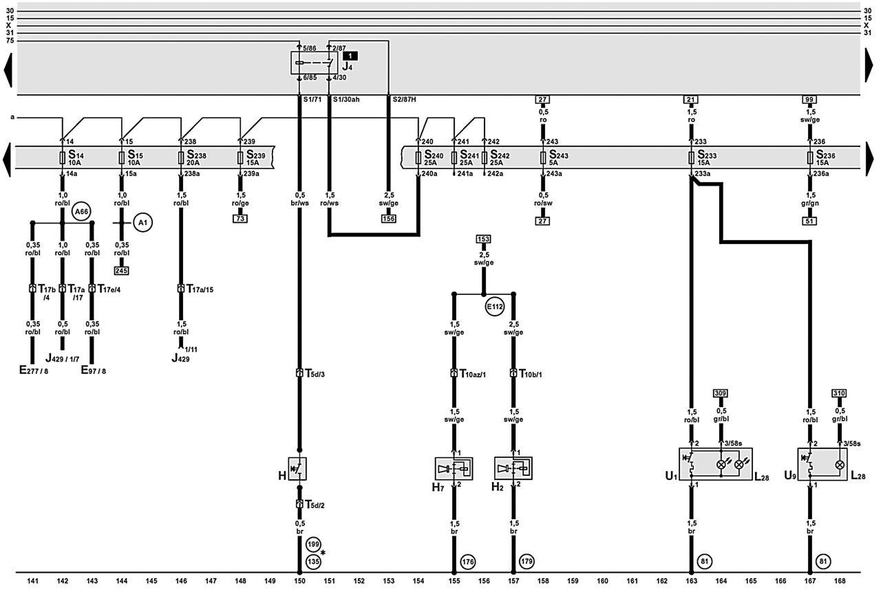 Сборник электросхем автомобиля Ауди А6.  Ниже приводятся сами схемы и обозначение элементов на электросхемах.
