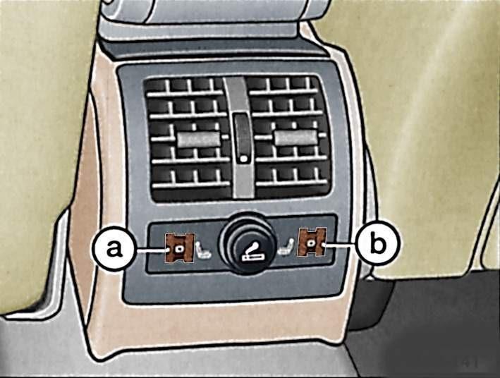 Расположение регуляторов подогрева заднего сиденья: а - слева, b - справа.