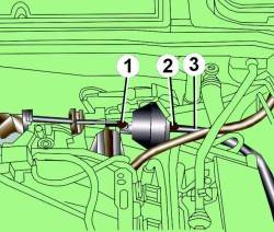 Расположение тяги управления (1), гайки крепления (2) вакуумного блока и вакуумного шланга (3)