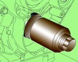 Использование оправки 3265 для установки переднего уплотнительного кольца коленчатого вала