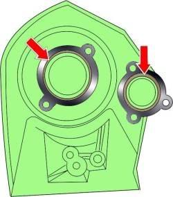 Расположение уплотнительных колец в передней части головки блока цилиндров