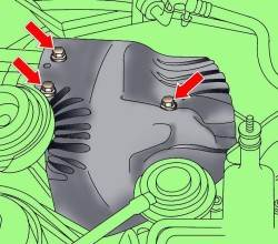 Расположение болтов крепления термозащитного экрана над турбокомпрессором