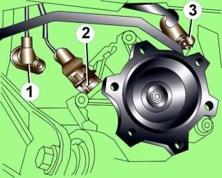 Расположение электрического разъема (1), датчика спидометра, датчика частоты вращения двигателя (2) и болта (3) крепления трубопровода автоматической коробки передач