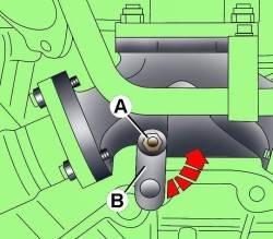Расположение болта (А) крепления стойки (В) на задней части турбокомпрессора
