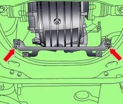 Расположение болтов крепления кронштейна нижнего брызговика моторного отсека