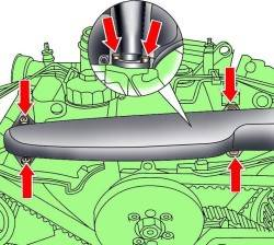 Расположение болтов крепления передней секции впускного коллектора