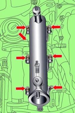 Расположение болтов крепления левой секции впускного коллектора