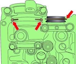 Места нанесения герметика перед установкой крышки головки блока цилиндров