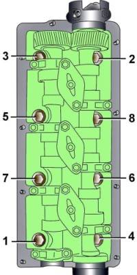 Последовательность затягивания болтов крепления головки блока цилиндров