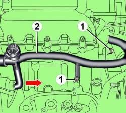 Расположение болтов (1) крепления трубы (2) системы охлаждения и направление ее перемещения