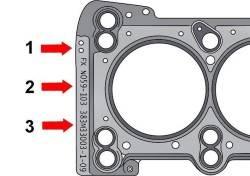 Маркировка прокладки крышки головки блока цилиндров отверстиями (1), номером (2) и кодом производства (3)