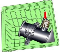Расположение электрического разъема расходомера воздуха