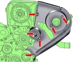 Расположение болтов крепления направляющего ролика и заднего кожуха зубчатого ремня