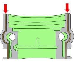 Место нанесения слоя герметика на правую внутреннюю заднюю крышку