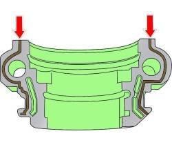 Место нанесения слоя герметика на внешнюю заднюю или переднюю правую крышку.
