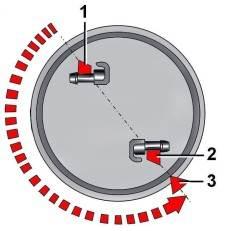 Положения датчика уровня топлива/ топливного насоса при установке