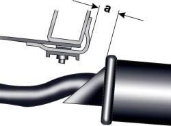 Измерение расстояния между центральным глушителем и поперечной балкой
