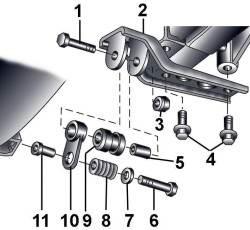 Элементы подвески выхлопной трубы к элементам кузова на переднеприводных автомобилях с механической коробкой передач
