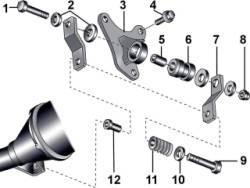 Элементы подвески выхлопной трубы к элементам кузова на переднеприводных автомобилях с автоматической коробкой передач