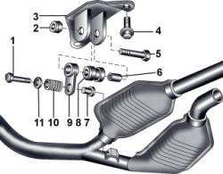 Элементы подвески выхлопной трубы к элементам кузова на полноприводных автомобилях с автоматической коробкой передач