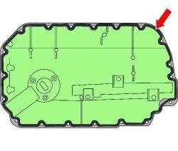 Место нанесения слоя герметика диаметром 3 мм на привалочную поверхность масляного поддона