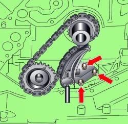 Расположение болтов крепления натяжителя цепи привода масляного насоса на дизельном двигателе 3,3 л