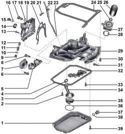 Элементы системы смазки бензинового двигателя 2,8 л