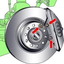 Расположение болтов крепления внешних тормозных колодок и тормозного диска