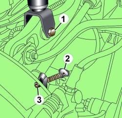 Расположение болта (1) крепления амортизатора и кронштейна (2) троса стояночного тормоза (3)