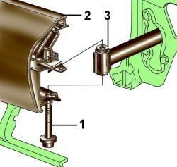 Крепление переднего бампера (2) к амортизатору удара (3)