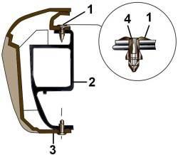 Элементы крепления переднего бампера к усилителю бампера