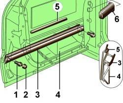 Расположение и крепление элементов защиты салона от бокового удара