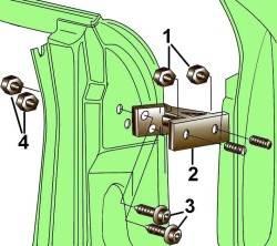 Элементы крепления верхней петли передней двери