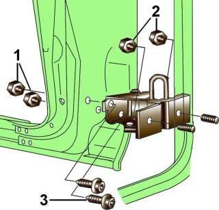 Элементы крепления нижней петли передней двери (стрелками указаны места смазки петли)