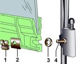 Элементы нижнего крепления стекла передней двери