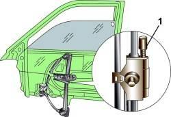 Расположение верхнего упора (1) на салазке направляющего штифта для регулировки стекла в поднятом состоянии