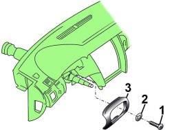 Расположение винта (1) с шайбой (2) крепления нижней накладки (3) рулевой колонки