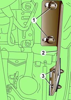 Расположение болтов (1) крепления держателя (2) к кронштейну педали и болтов (3) нижнего крепления держателя