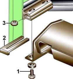Крепление панели приборов к кронштейну передней стойки