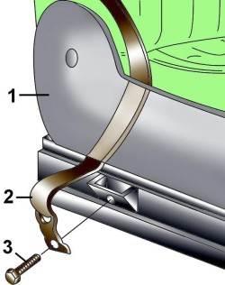Расположение болта (1) с держателем (2) крепления ремня безопасности (3) к переднему сиденью