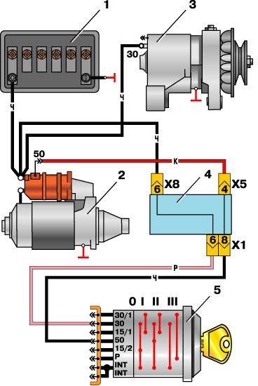 Схема подключения замка зажигания москвич фото 284