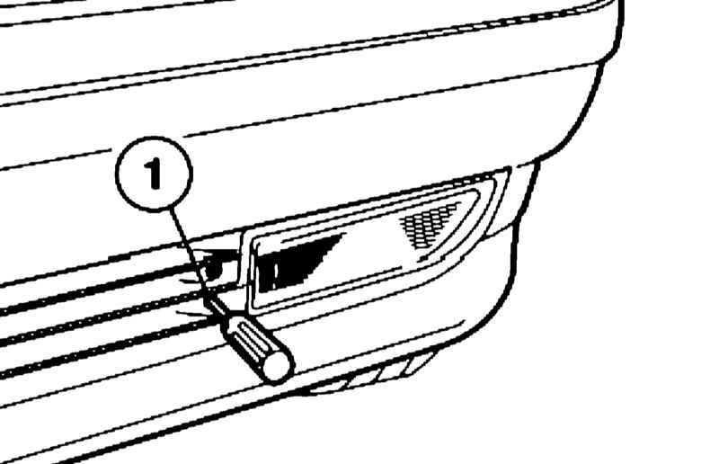 Регулировка противотуманной фары по высоте производится при помощи регулировочного винта (1) через нижнее отверстие.