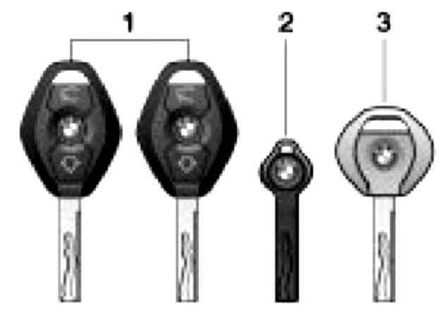 Вместе с автомобилем даются два основных ключа (1), запасной ключ (2) и ключ от дверей и замка зажигания.