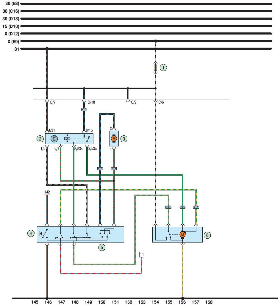 """""""Схема 10.  Очиститель и омыватель ветрового стекла, выключатель звукового сигнала: 1 - предохранитель (15 А); 2..."""